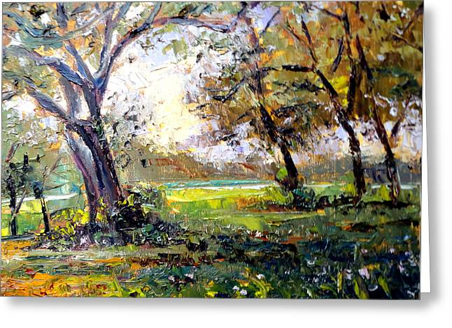 Mountain Climbing Print Paintings Greeting Cards - View from Oak ridge Greeting Card by Mark Hartung