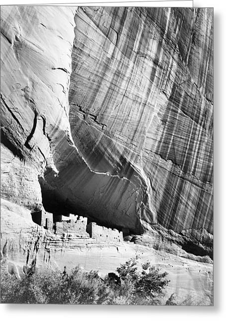 Dwelling Digital Art Greeting Cards - View from river valley Canyon de Chelly Greeting Card by Ansel Adams