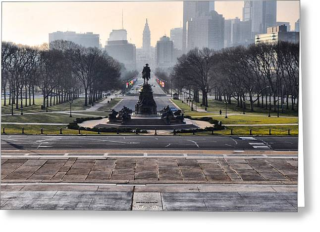 Phila Digital Art Greeting Cards - View from Rockys Footsteps Greeting Card by Bill Cannon