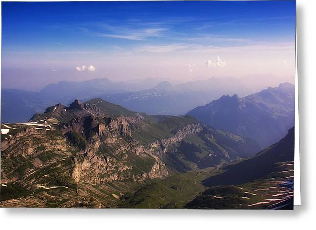 Murren Greeting Cards - View from Schilthorn Greeting Card by Wade Aiken