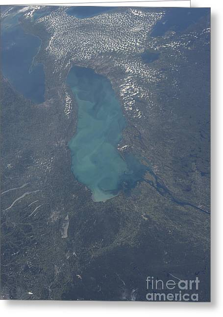 Finger Lakes Greeting Cards - View From Space Of Lake Ontario Greeting Card by Stocktrek Images