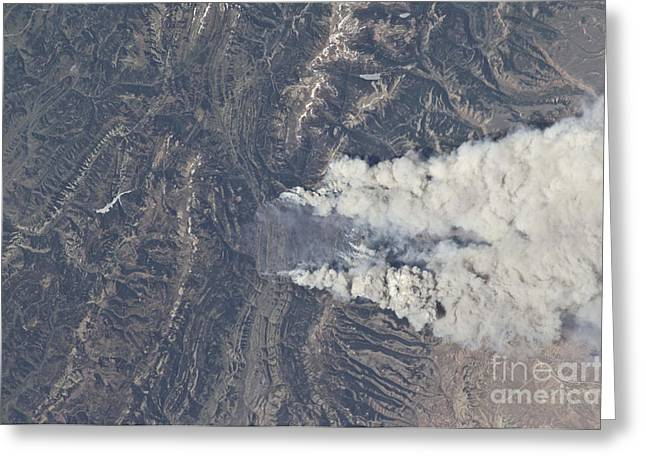 Bridger Teton Greeting Cards - View From Space Of The Fontenelle Fire Greeting Card by Stocktrek Images