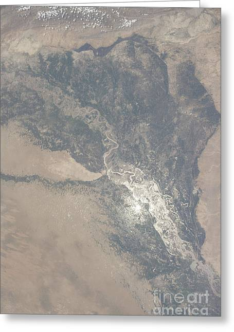 View From Space Of The Indus Valley Greeting Card by Stocktrek Images