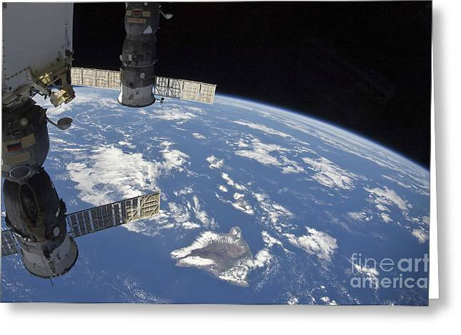 Travel Agency Greeting Cards - View From Space Showing Part Greeting Card by Stocktrek Images