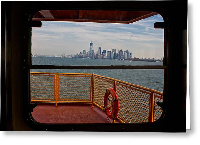 Staten Island Ferry Greeting Cards - View from Staten Island Ferry Greeting Card by John McGraw