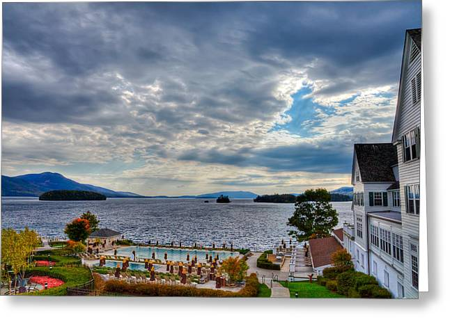 The Lake George Greeting Cards - View from the Balcony Suite - Sagamore Resort Greeting Card by David Patterson