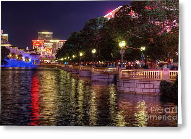 View From The Bellagio Fountains Greeting Card by Eddie Yerkish