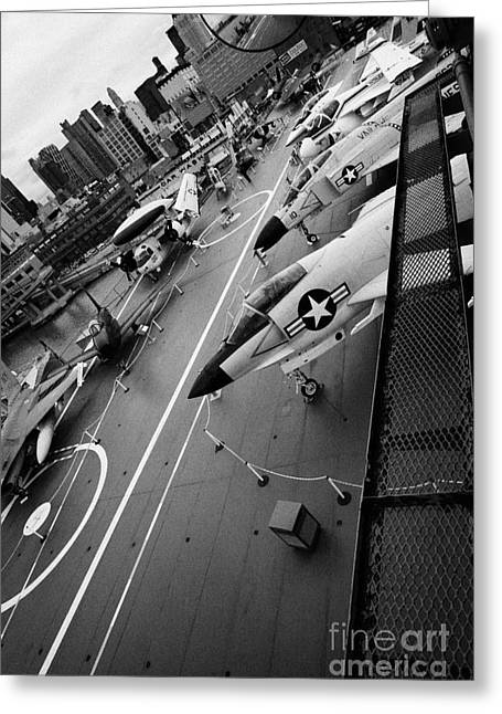 Manhaten Greeting Cards - view from the bridge of the USS Intrepid at the Intrepid Sea Air Space Museum new york city Greeting Card by Joe Fox
