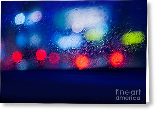 City Lights Greeting Cards - View from the car in rainy night Greeting Card by Anna Omelchenko