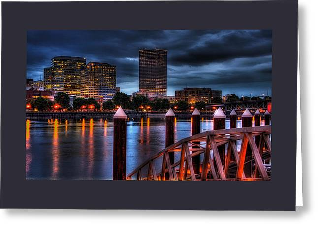Portland Oregon Greeting Cards - View From The East Bank PDX Greeting Card by Thom Zehrfeld