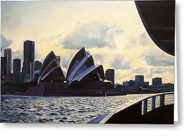 Sydney Harbour Greeting Cards - View From The Ferry, 2008 Oil On Canvas Greeting Card by Kevin Parrish