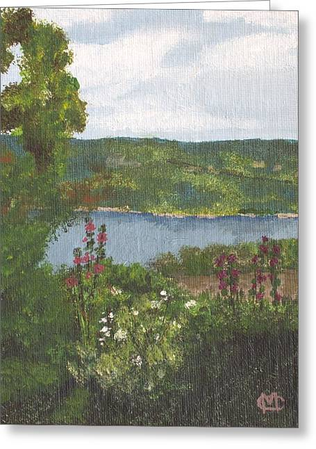Keuka Paintings Greeting Cards - View From the Garden Greeting Card by Cynthia Morgan