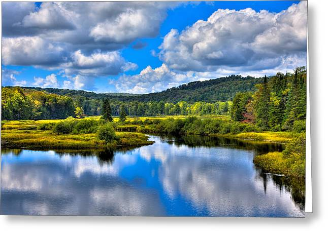 View from the Green Bridge in Old Forge NY Greeting Card by David Patterson