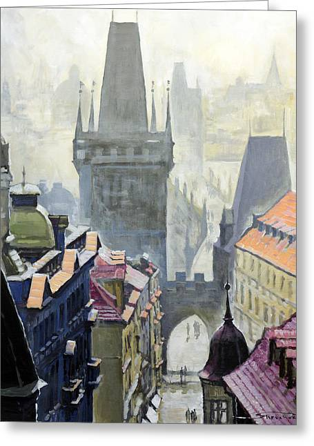 Charles Bridge Paintings Greeting Cards - View from the Mostecka street in the direction of Charles Bridge Greeting Card by Yuriy Shevchuk