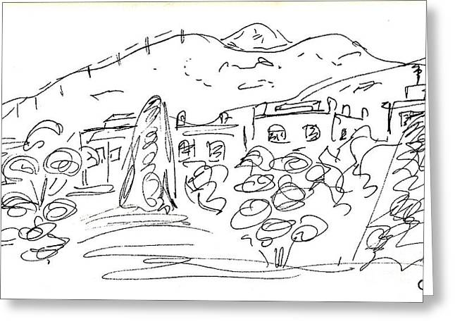 Nature Center Drawings Greeting Cards - View from the Parque de la Bateria Greeting Card by Chani Demuijlder