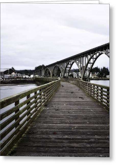 Wooden Platform Greeting Cards - View From The Pier At Yaquina Bay Greeting Card by Image Takers Photography LLC - Laura Morgan
