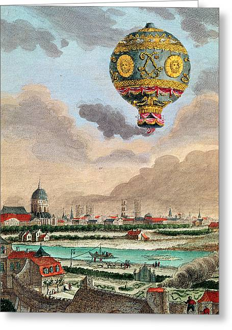 Vue Greeting Cards - View From The Terrace Of Monsieur Franklin At Passy Of The First Flight Under The Direction Greeting Card by French School