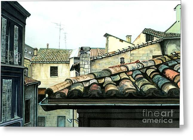 South Of France Greeting Cards - View from the Top Greeting Card by Barbara Jewell