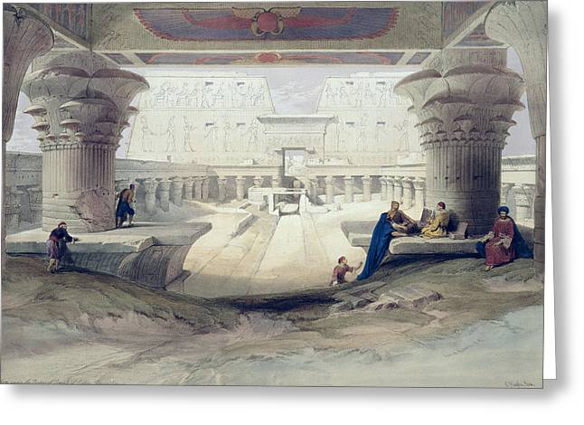 Horus Greeting Cards - View From Under The Portico Of Temple Greeting Card by David Roberts