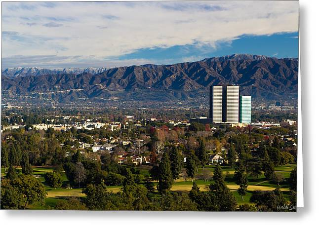 Angeles Forest Greeting Cards - View From Universal Studios Hollywood Greeting Card by Heidi Smith