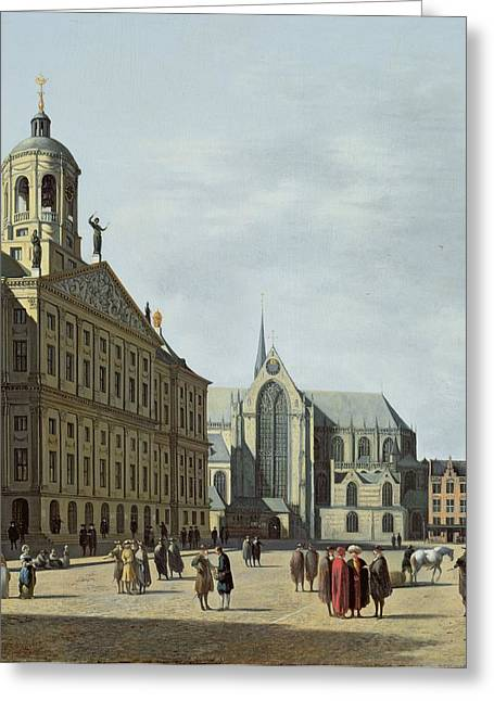 Town Square Greeting Cards - View In Amsterdam, With The Facade Greeting Card by Gerrit Adriaensz Berckheyde