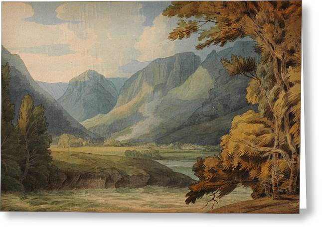 Drawing Of Eagle Greeting Cards - View in Borrowdale of Eagle Crag and Rosthwaite Greeting Card by Celestial Images