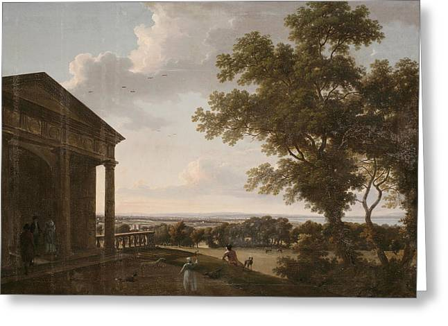 Dog Walker Greeting Cards - View In Mount Merrion Park, 1804 Greeting Card by William Ashford