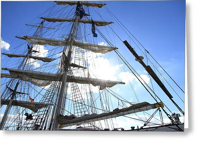 Sailing Ship Greeting Cards - View in the sky Greeting Card by Four Hands Art