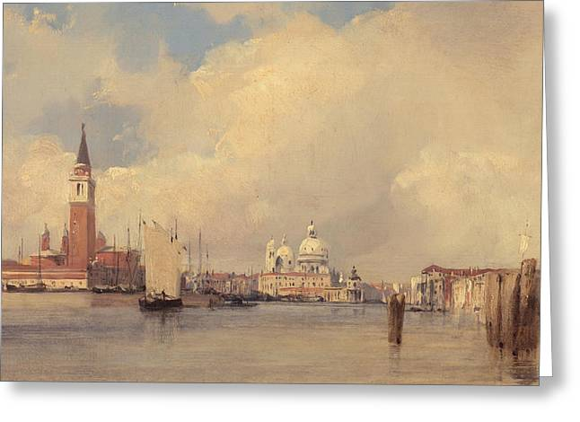 Art Of Building Greeting Cards - View in Venice Greeting Card by Richard Parkes Bonington