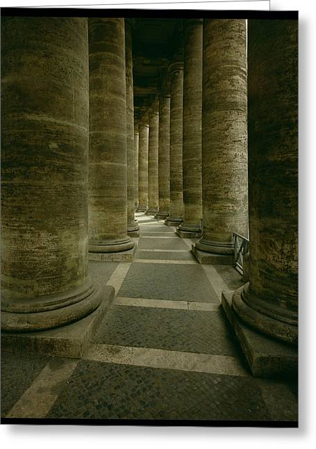 Baroque Greeting Cards - View Inside The Colonnade Photo Greeting Card by Gian Lorenzo Bernini