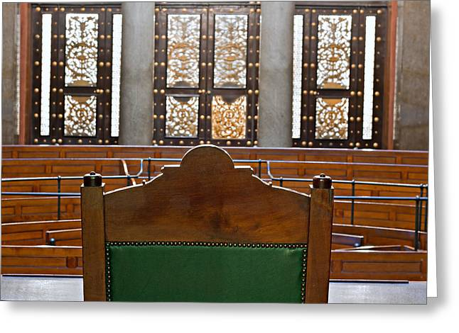 Legal Proceedings Greeting Cards - View into courtroom from judges chair Greeting Card by Ken Biggs