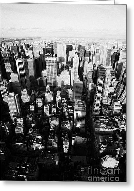 Manhatan Greeting Cards - View North And Down Towards Central Park From Empire State Building New York Greeting Card by Joe Fox