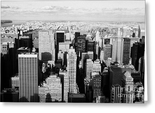 Manhatan Greeting Cards - View North Towards Central Park From Empire State Building New York Greeting Card by Joe Fox