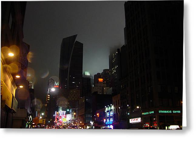 Mietko Greeting Cards - view of 8th Ave before New York Times building Greeting Card by Mieczyslaw Rudek Mietko
