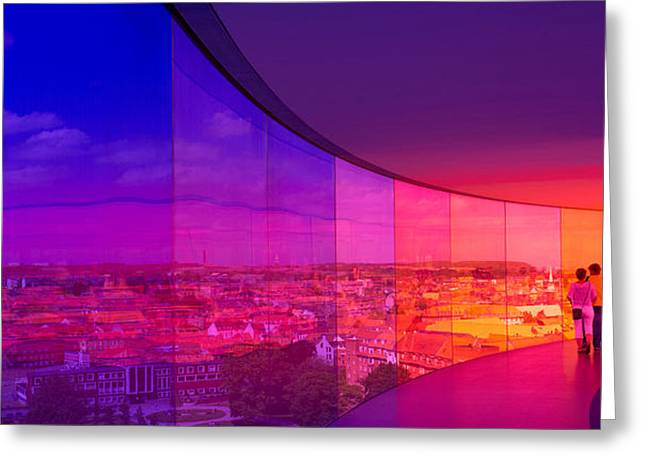 Aarhus Greeting Cards - View Of A City From The Translucent Greeting Card by Panoramic Images
