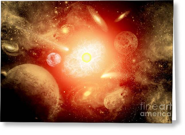 Fantasy World Greeting Cards - View Of A Distant Part Of The Galaxy Greeting Card by Mark Stevenson