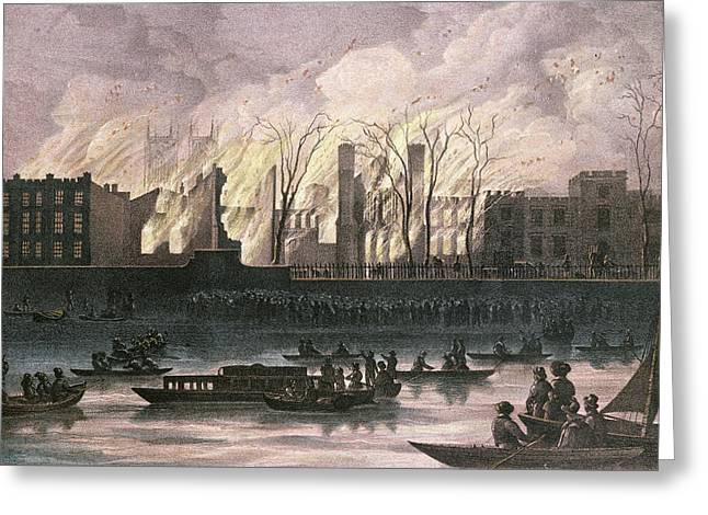 Thames Greeting Cards - View Of A Fire At Whitehall Palace Pastel On Paper Greeting Card by English School