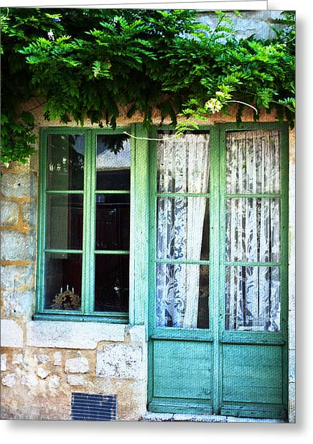 French Doors Greeting Cards - View of a French Window Greeting Card by Nomad Art And  Design