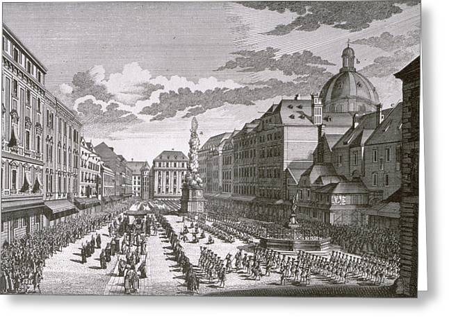 View Of A Procession In The Graben Engraved By Georg-daniel Heumann 1691-1759 Engraving Greeting Card by Salomon Kleiner