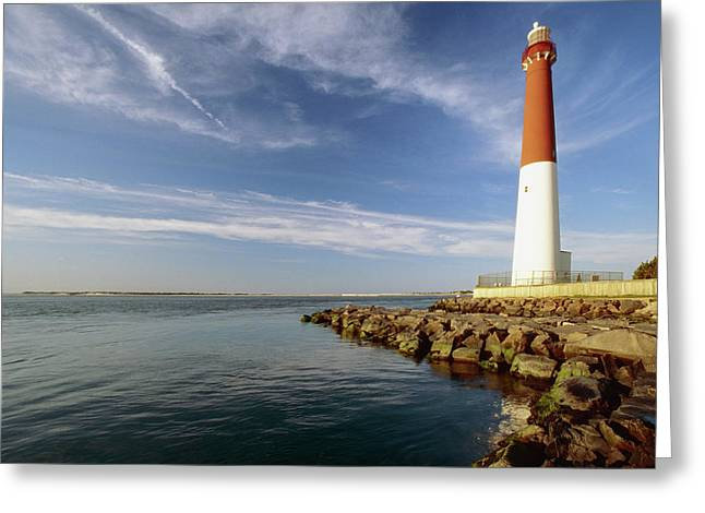 Long Beach Island Greeting Cards - View of a Red and White Lighthouse Greeting Card by George Oze