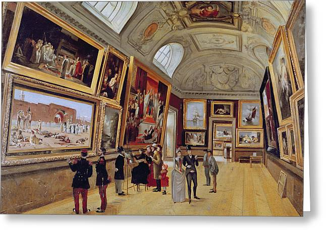 Appreciation Greeting Cards - View Of A Room In The Musee Du Luxembourg In Paris In 1883-85 Oil On Canvas Greeting Card by French School