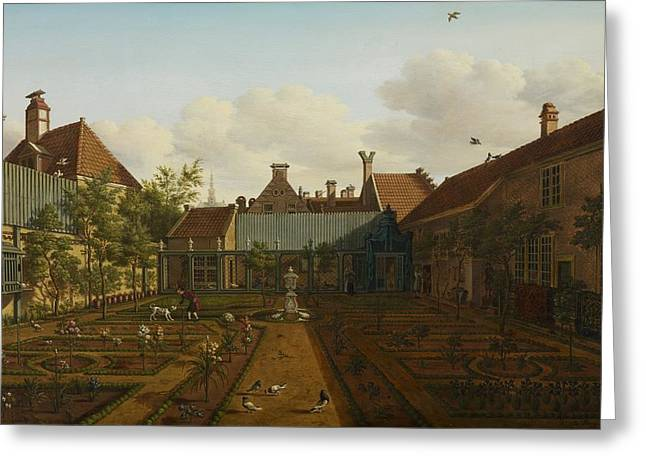 Townhouses Greeting Cards - View of a town house garden in The Hague Greeting Card by Paulus Constantin La Fargue