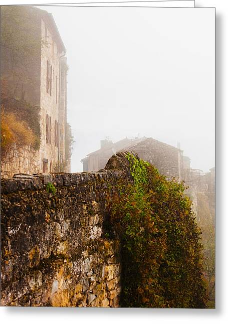 Midi Greeting Cards - View Of A Town In Fog, Cordes-sur-ciel Greeting Card by Panoramic Images