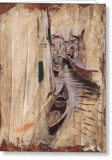View Of A Venetian Canal Greeting Card by Giovanni Boldini