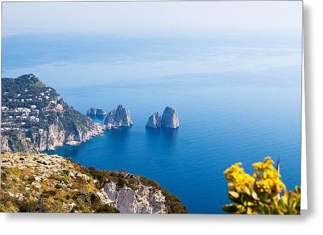 Island Greeting Cards - View of Amalfi Coast Greeting Card by Susan  Schmitz