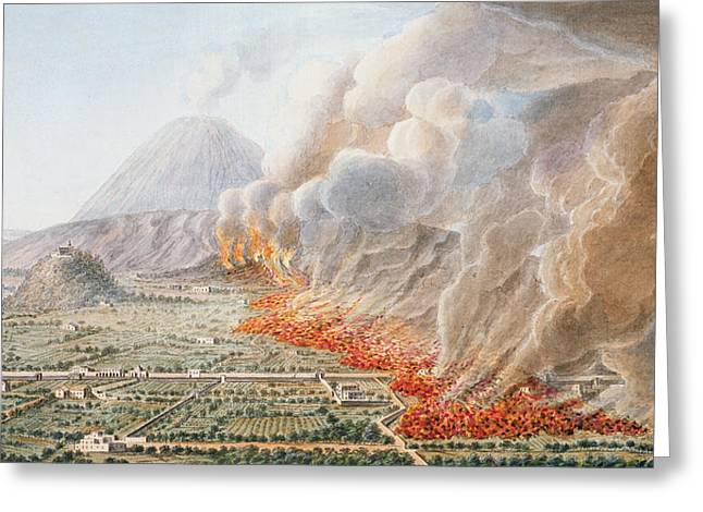 Italian Landscapes Greeting Cards - View Of An Eruption Of Mt. Vesuvius Greeting Card by Pietro Fabris