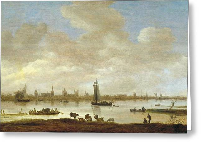 Imaginary City Greeting Cards - View of an imaginary city Greeting Card by Jan van Goyen