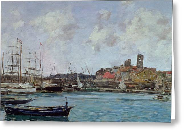 Sailboats Docked Greeting Cards - View Of Antibes Greeting Card by Eugene Louis Boudin