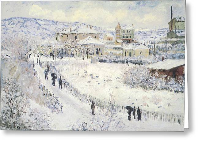 View Of Argenteuil Snow Greeting Card by Claude Monet