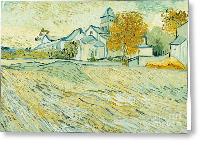 Neo Greeting Cards - View of Asylum and Saint-Remy Chapel Greeting Card by Vincent van Gogh